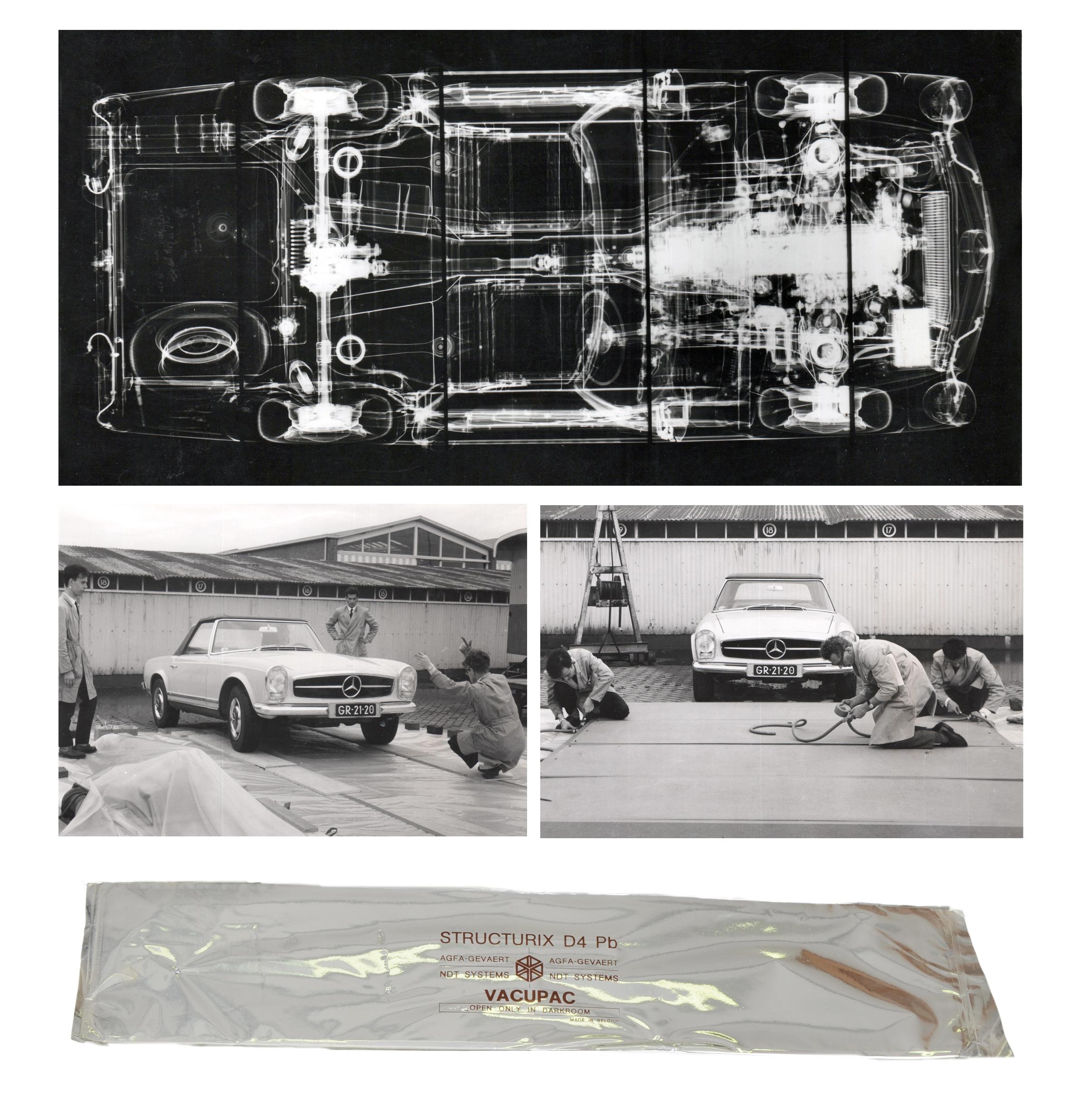 Collage über die Aufnahme und das Ergebnis einer Röntgenaufnahme eines Mercedes 230 SL.