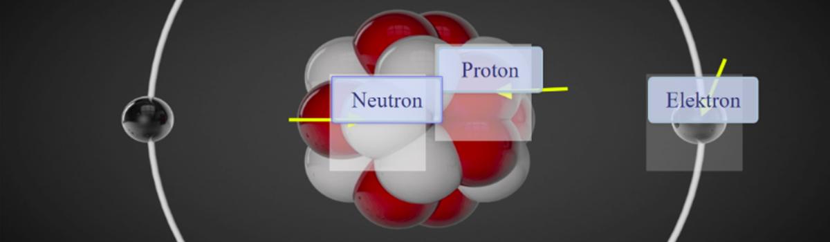 Aufbau eines Atoms mit Neutronen, Protonen und Elektronen.