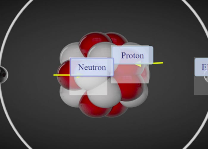 Schaubild eines Atoms mit Neutronen und Protonen.