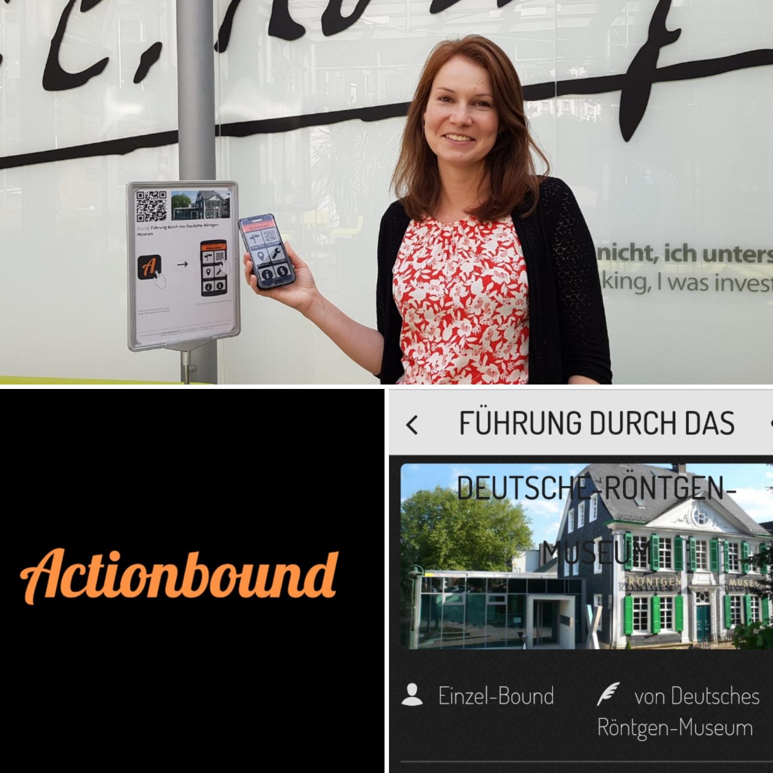 Collage mit einem Bild des Röntgenmuseums, einer Frau mit einem Handy und dem Schriftzug Actionbound.