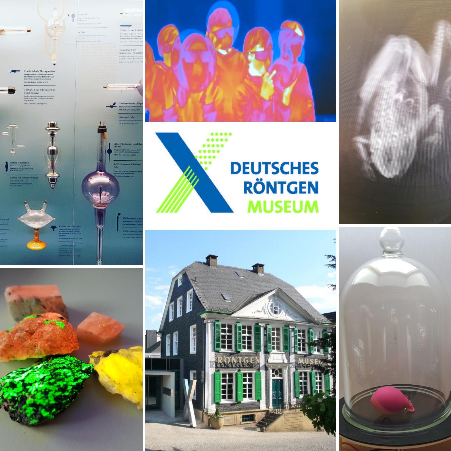 Collage mit Objekten und Geräten welche starken Bezug zur Strahlenphysik und Röntgenaufnahmen haben